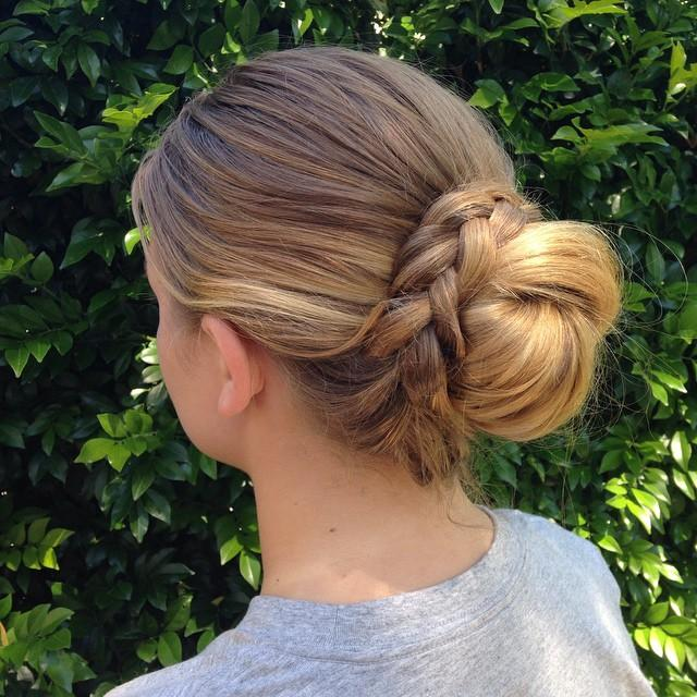 braided around bun