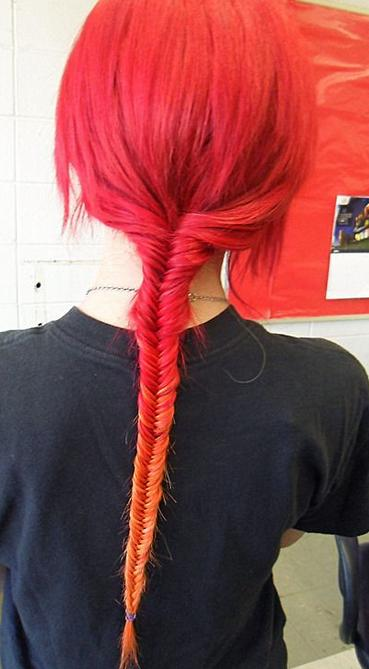fiery fishtail braid