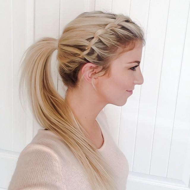waterfall braid into ponytail