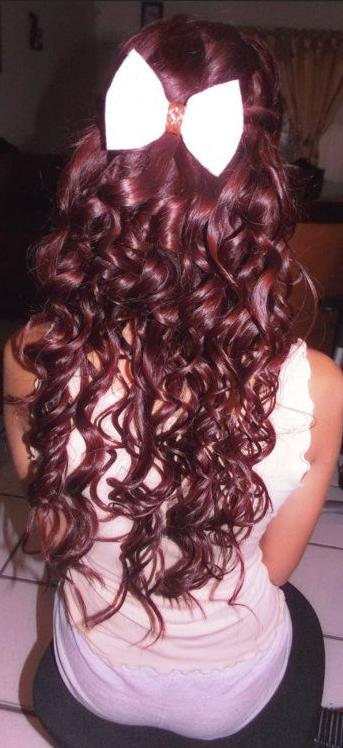 cherry coke red hair with a white bow