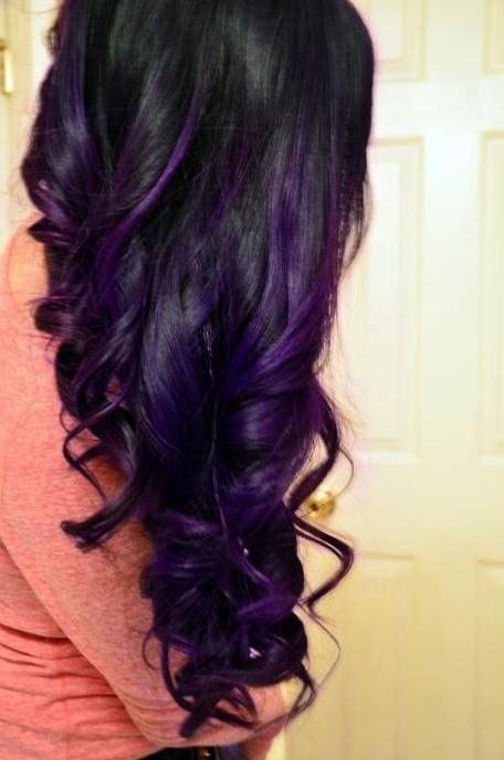 curls with dark purple highlights