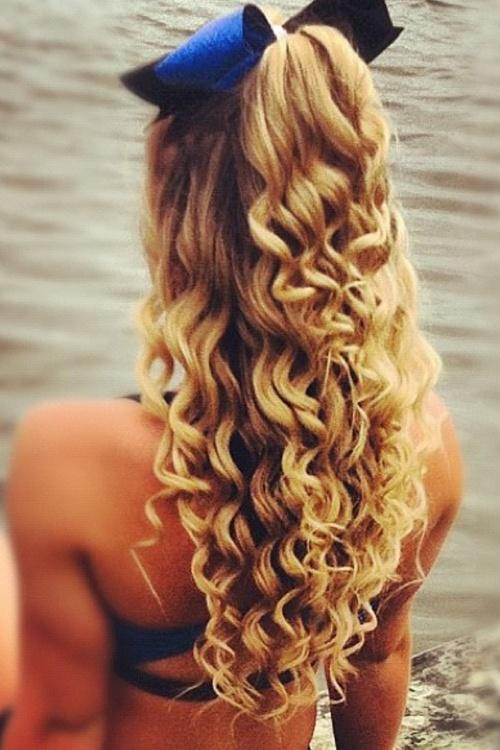 blonde curls with a bow