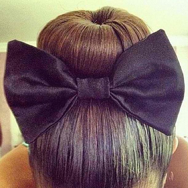 bun with a black bow  width=