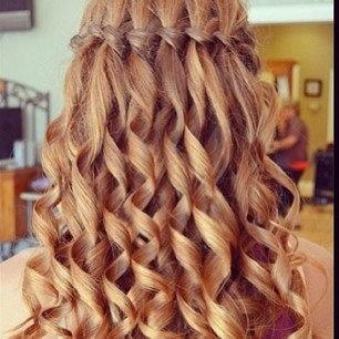 waterfall braid with curls