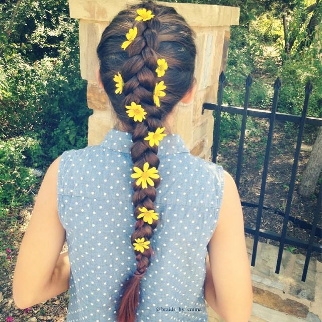 pancaked dutch braid with flowers