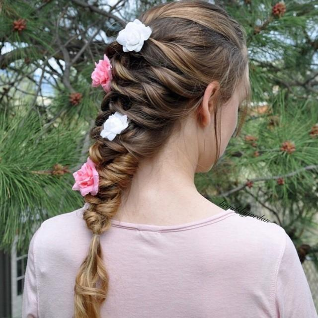 beautiful braid with flowers