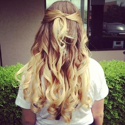brown blonde ombre curls half twist