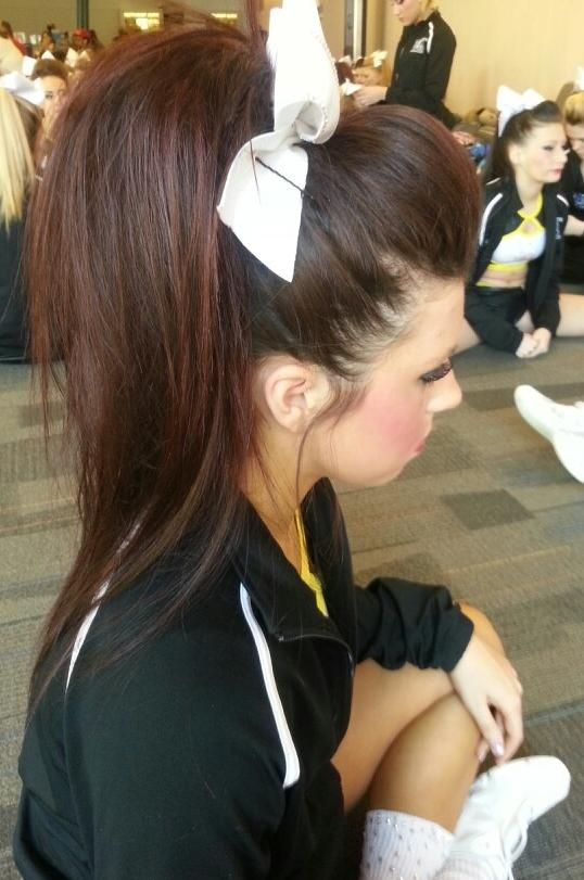 brunette, poof, cheer bow,ponytail