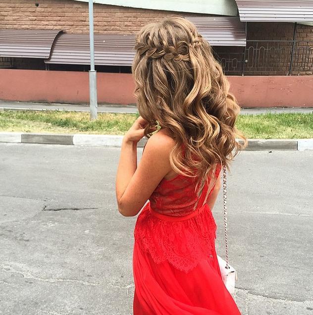 waterfall braided messy curls