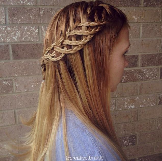 waterfall with strands braided