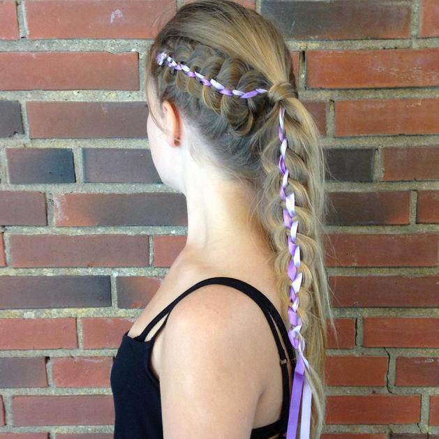 5 strand rbbon braid into ponytail