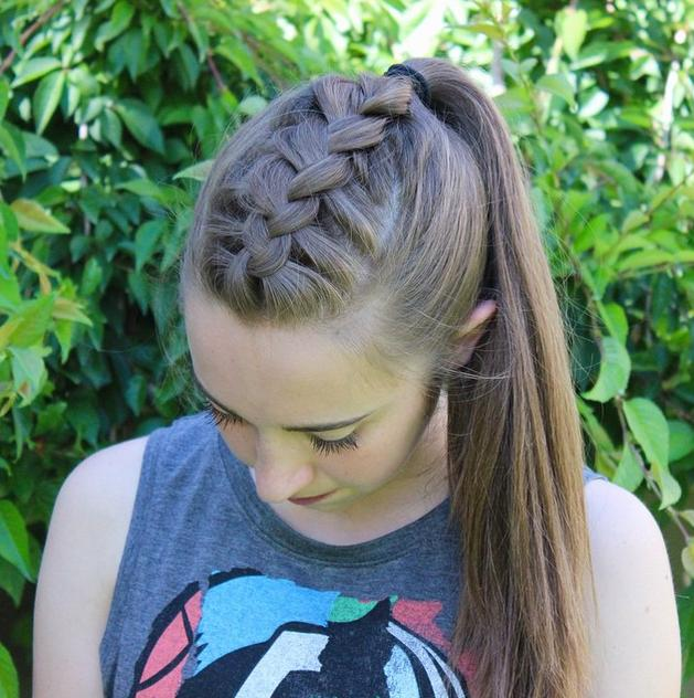 Dutch braid into a high ponytail