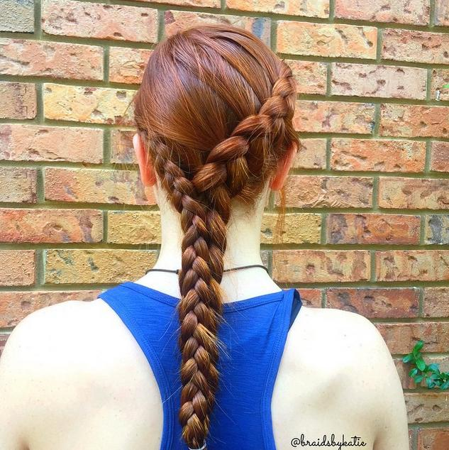 Dutch braid with a dutch braid accent