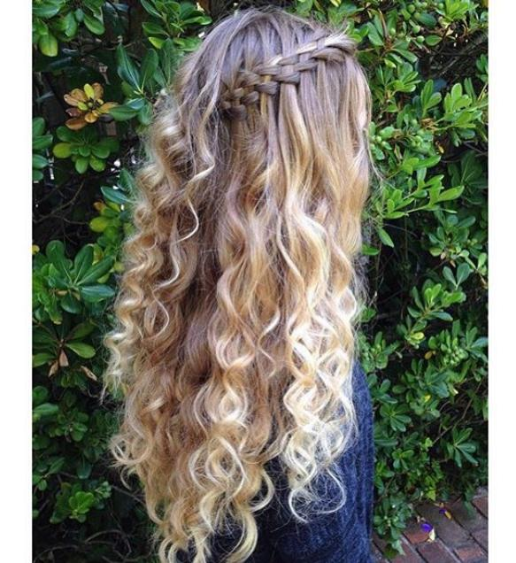 Five strand waterfall braid with no heat curls @braids.by.skye