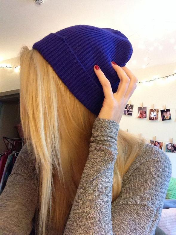 blonde hair & beanie