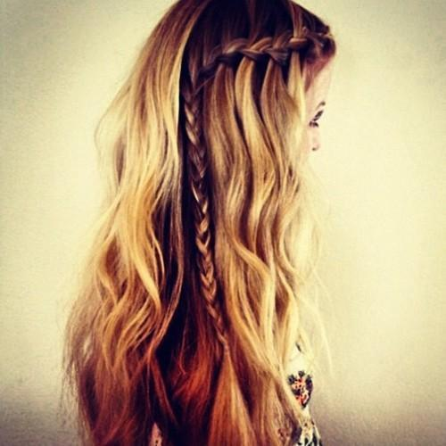 blonde brown side braid