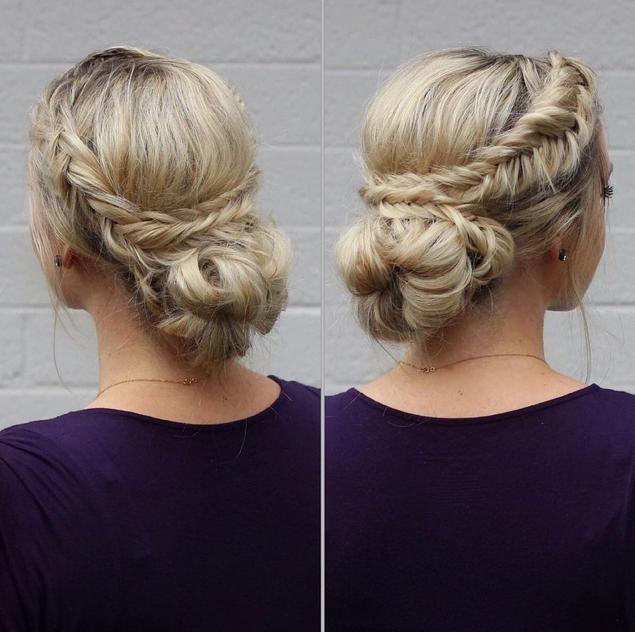 dutch fishtail braids wrapped around a messy bun