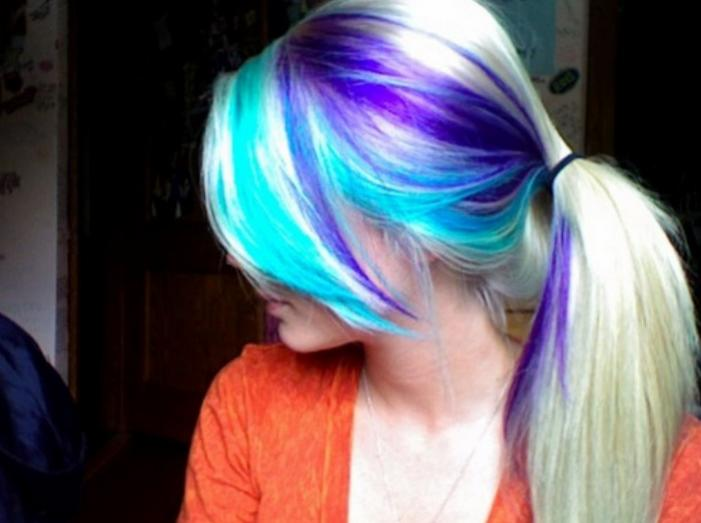 8 hair color trends you have to see hairstyle mag blonde ponytail bangs with purple and blue highlights on the side pmusecretfo Choice Image