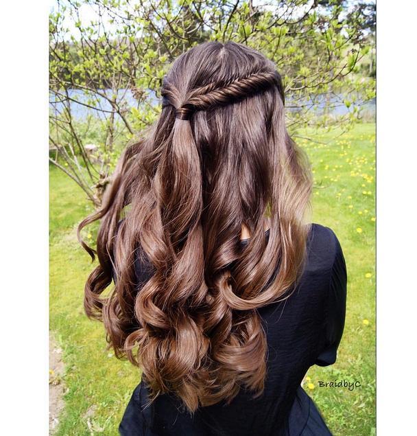 prom braided half up style