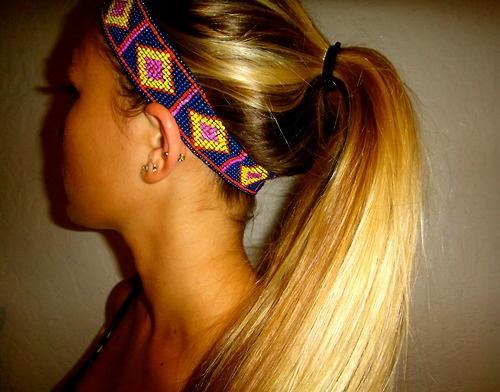 tribal headband blonde ponytail