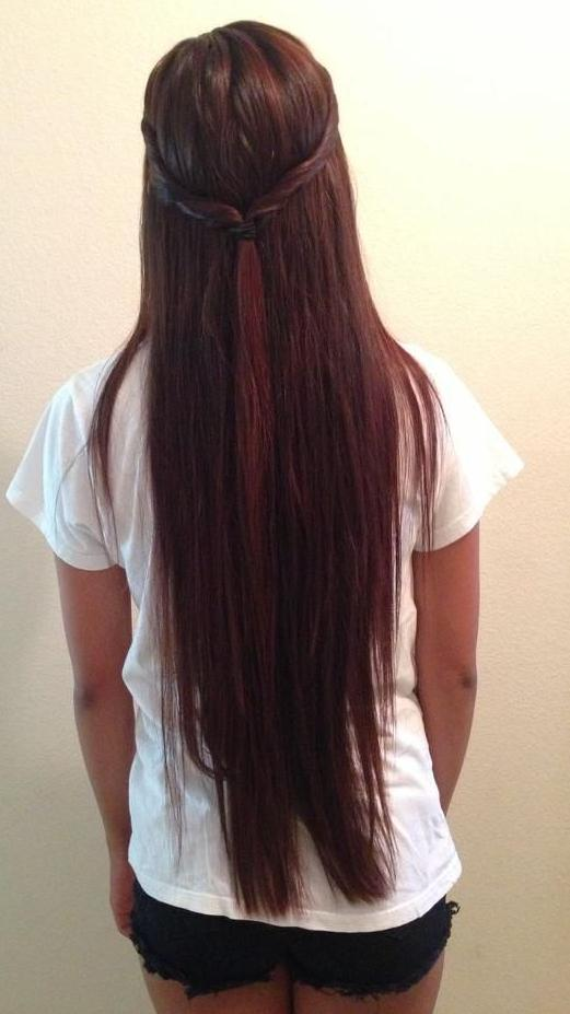 long half up red brown hair