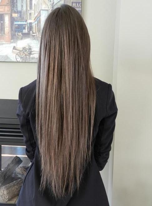 long straight ash brown hair color
