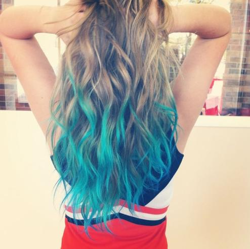 blue coloured hair