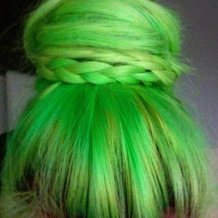 colored hair braid bun