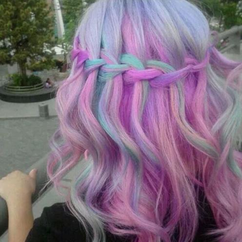 cotton candy waterfall braid