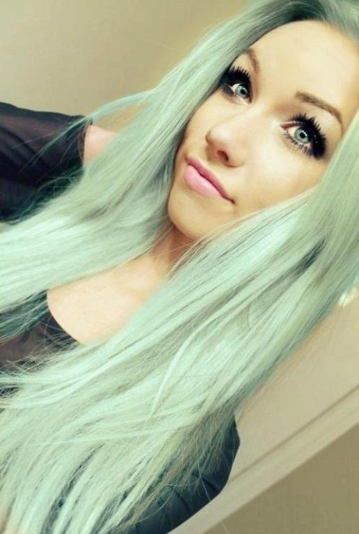 goegeous mint pastel hair color