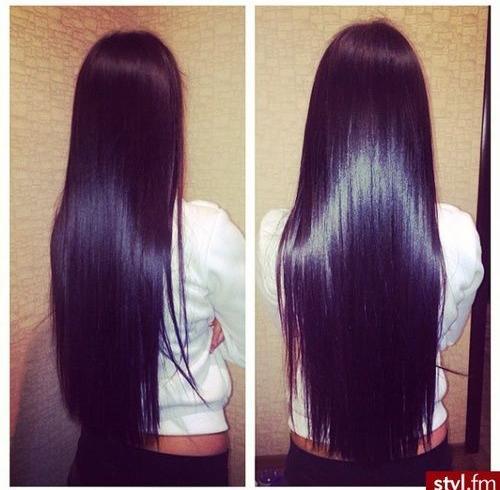 long straight shiny hair