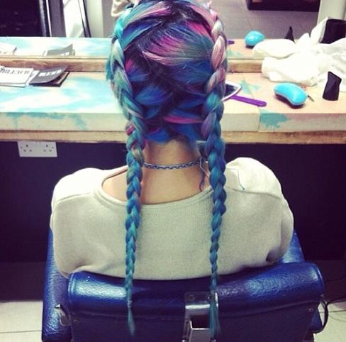 pretty blue pink pastel dyed braids