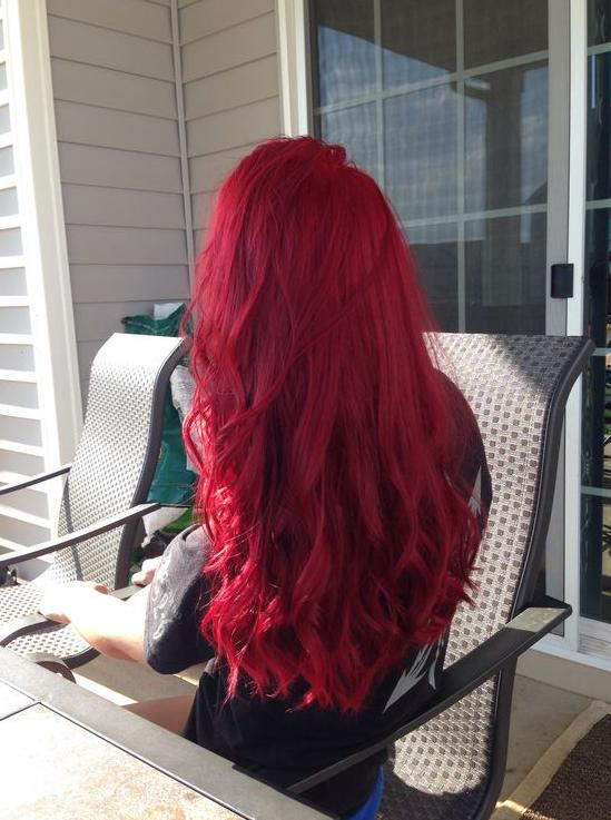 raspberry red dark pink hair
