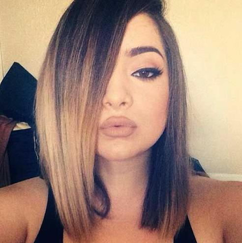 brown bob hair color with ombre